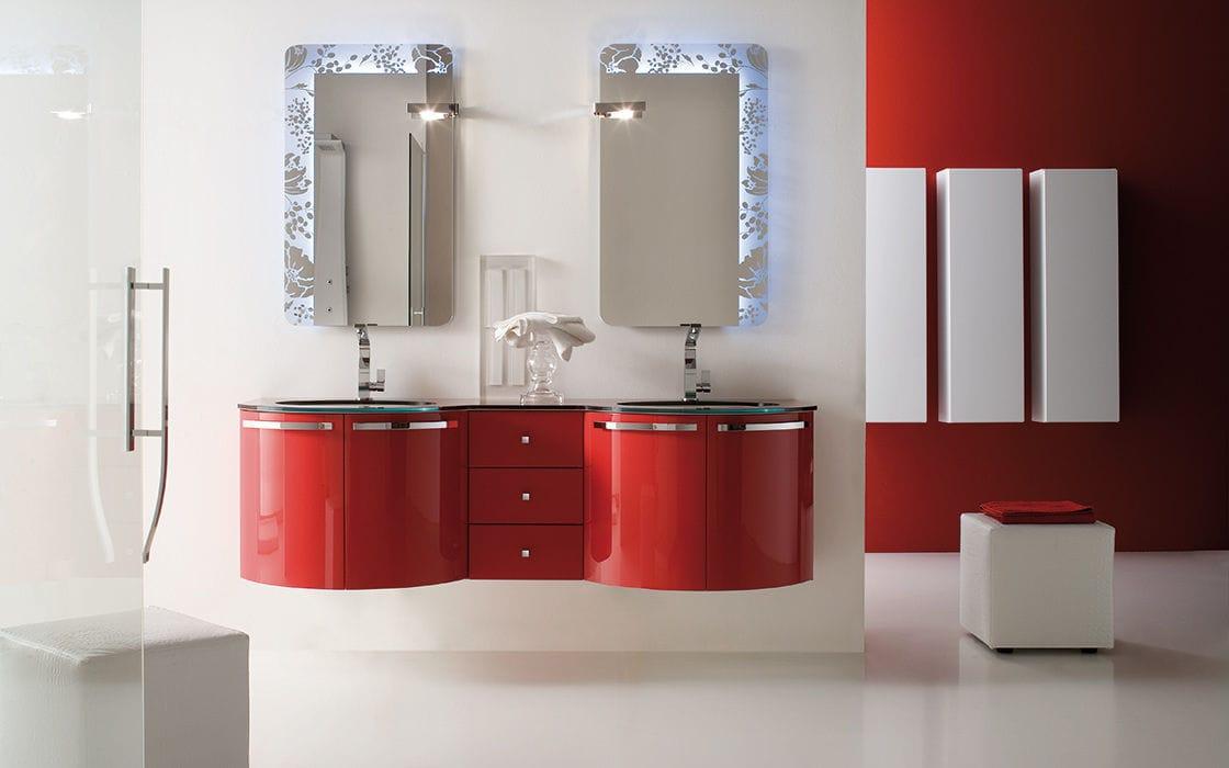 Mobile lavabo doppio / sospeso / in laminato / moderno - YEN - RAB ...