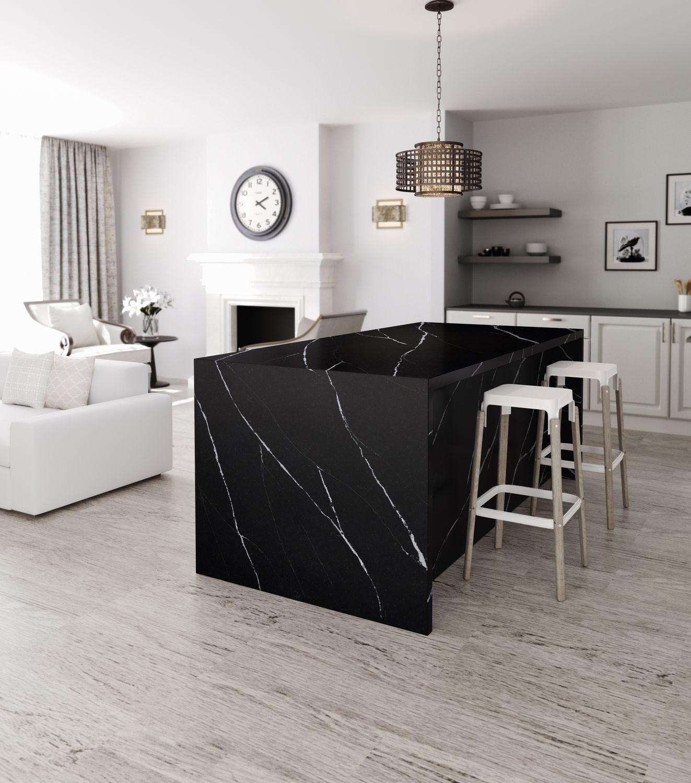 Piano di lavoro in Silestone® / in marmo / da cucina / bianco ...