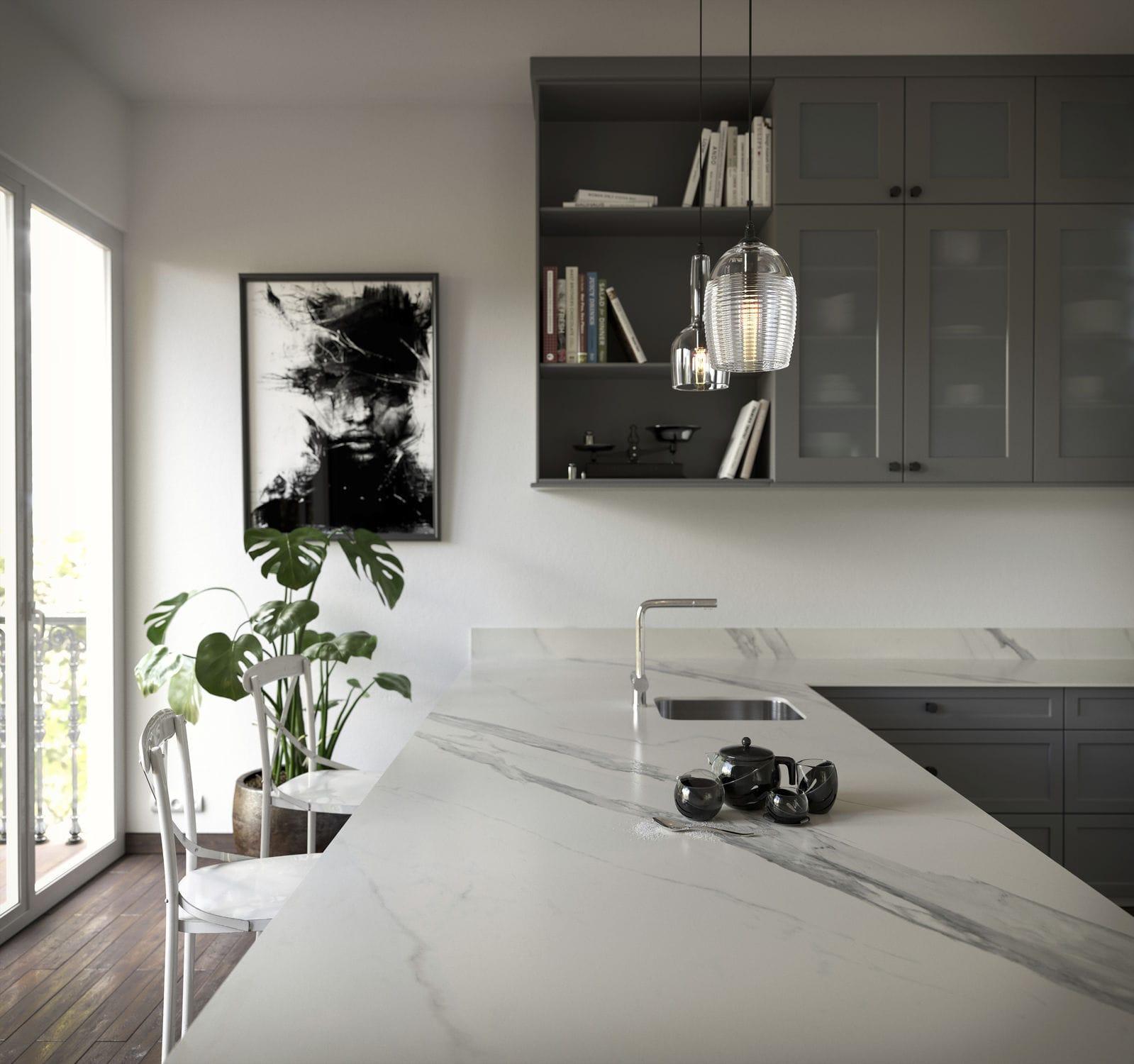 Piano di lavoro in marmo / da cucina / bianco - OPERA - Cosentino