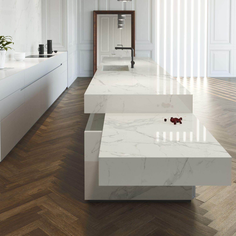 Piano di lavoro in marmo / da cucina / bianco - NATURA - Cosentino