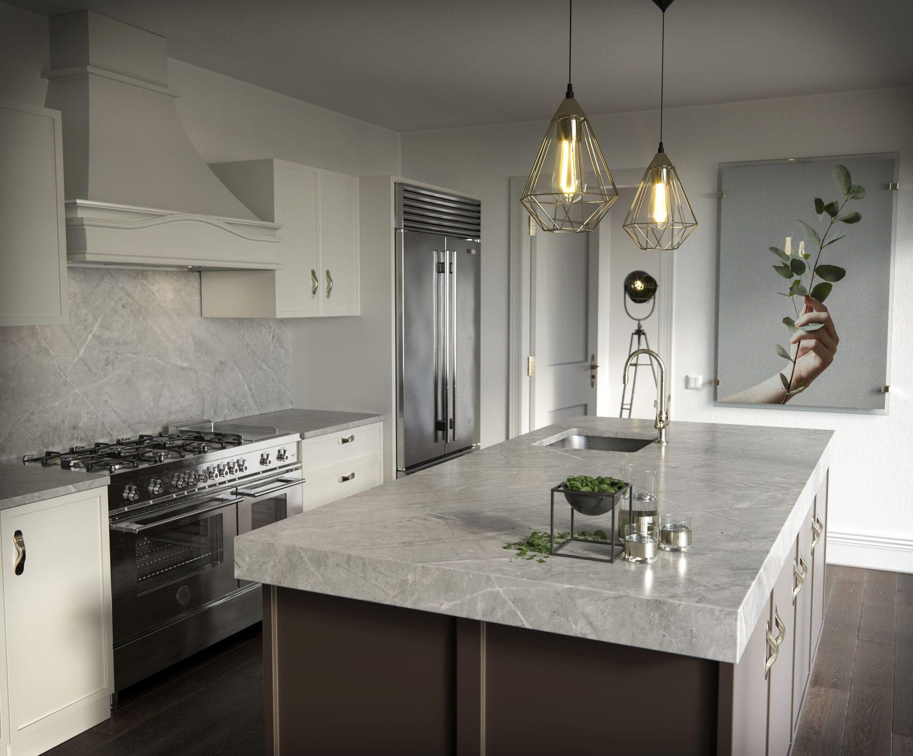 Piano di lavoro in pietra naturale / da cucina / grigio - VERA ...