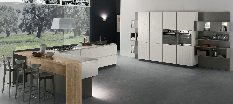 Cucina moderna / in laminato / con isola / senza maniglie - VEGA ...