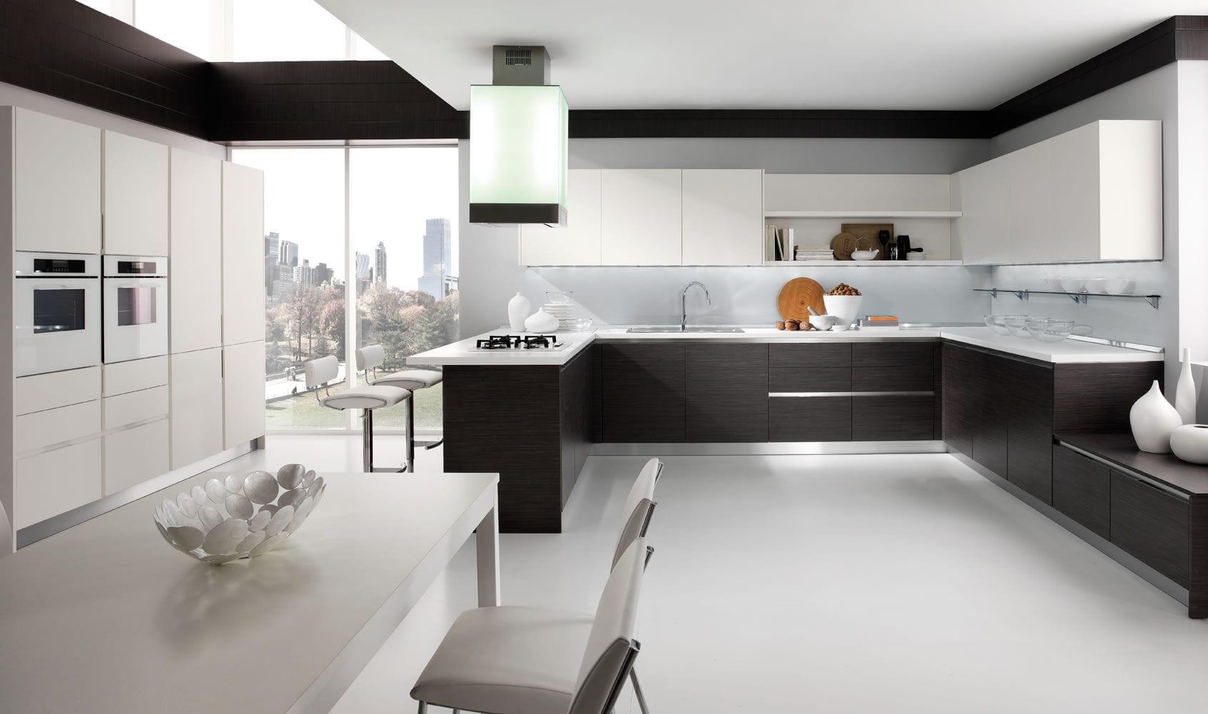 Cucina moderna / impiallacciata in legno / laccata - SPAZIO ...