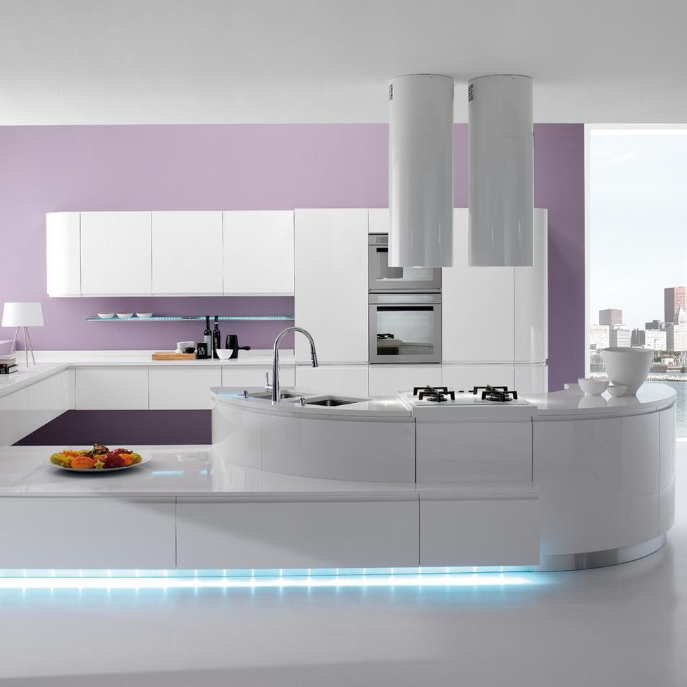 Cucina moderna / in laminato / con isola / laccata - SEVEN ...