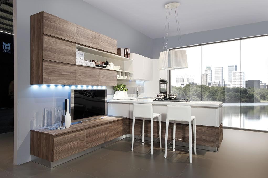 Cucina moderna / impiallacciata in legno / a L / laccata - CORINE ...