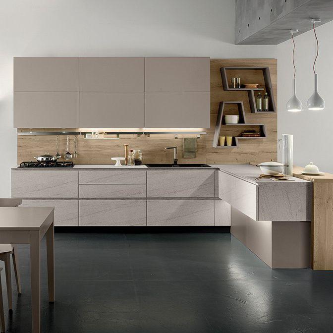 Cucina moderna / in laminato / a L / senza maniglie - VEGA ...