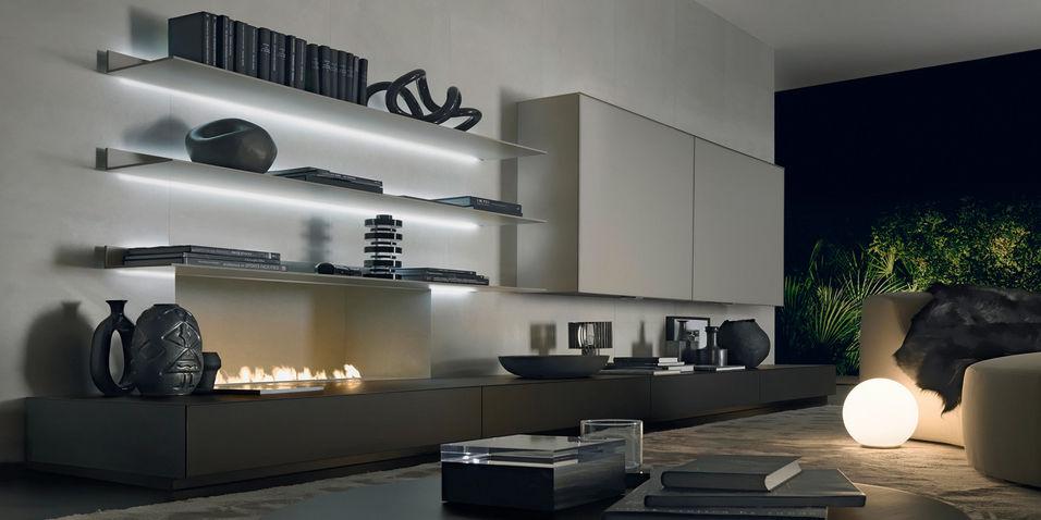 Scaffale a muro / moderno / in alluminio / in vetro laccato - EOS ...