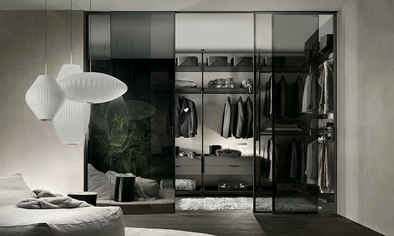 Rimadesio Cabina Armadio Zenit Prezzo : Cabina armadio da parete moderna in vetro in alluminio