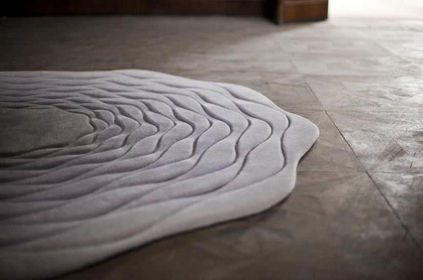 Tappeto moderno / a righe / in lana / rotondo - HYPNOS by Atelier Oï ...