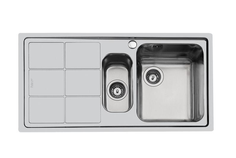 lavello a 2 vasche in acciaio inox con gocciolatoio s3000 9715vsf 1369 06