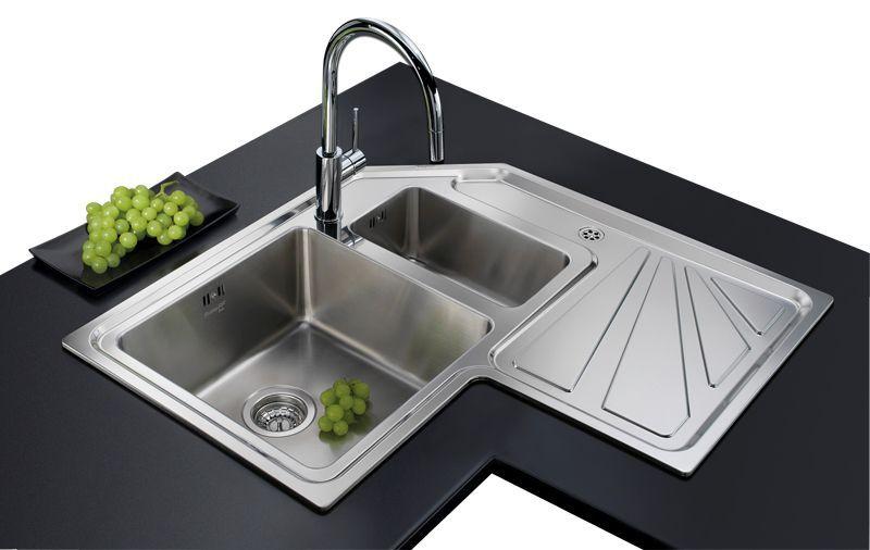Lavello a 2 vasche / in acciaio inox / d\'angolo / con gocciolatoio ...