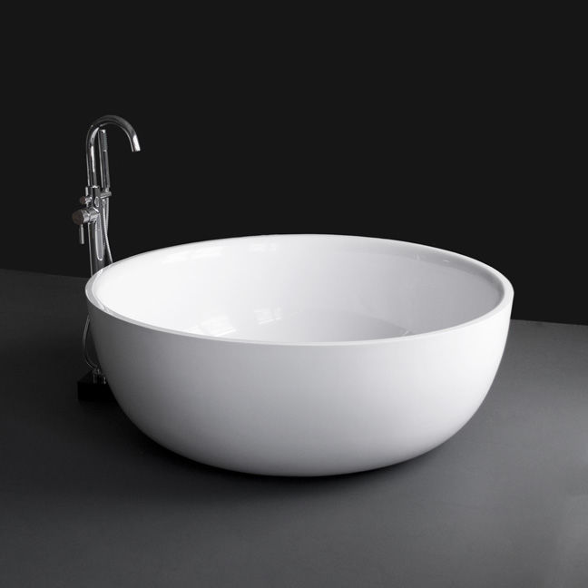 vasca da bagno da appoggio rotonda in solid surface twin set tub06 lacava