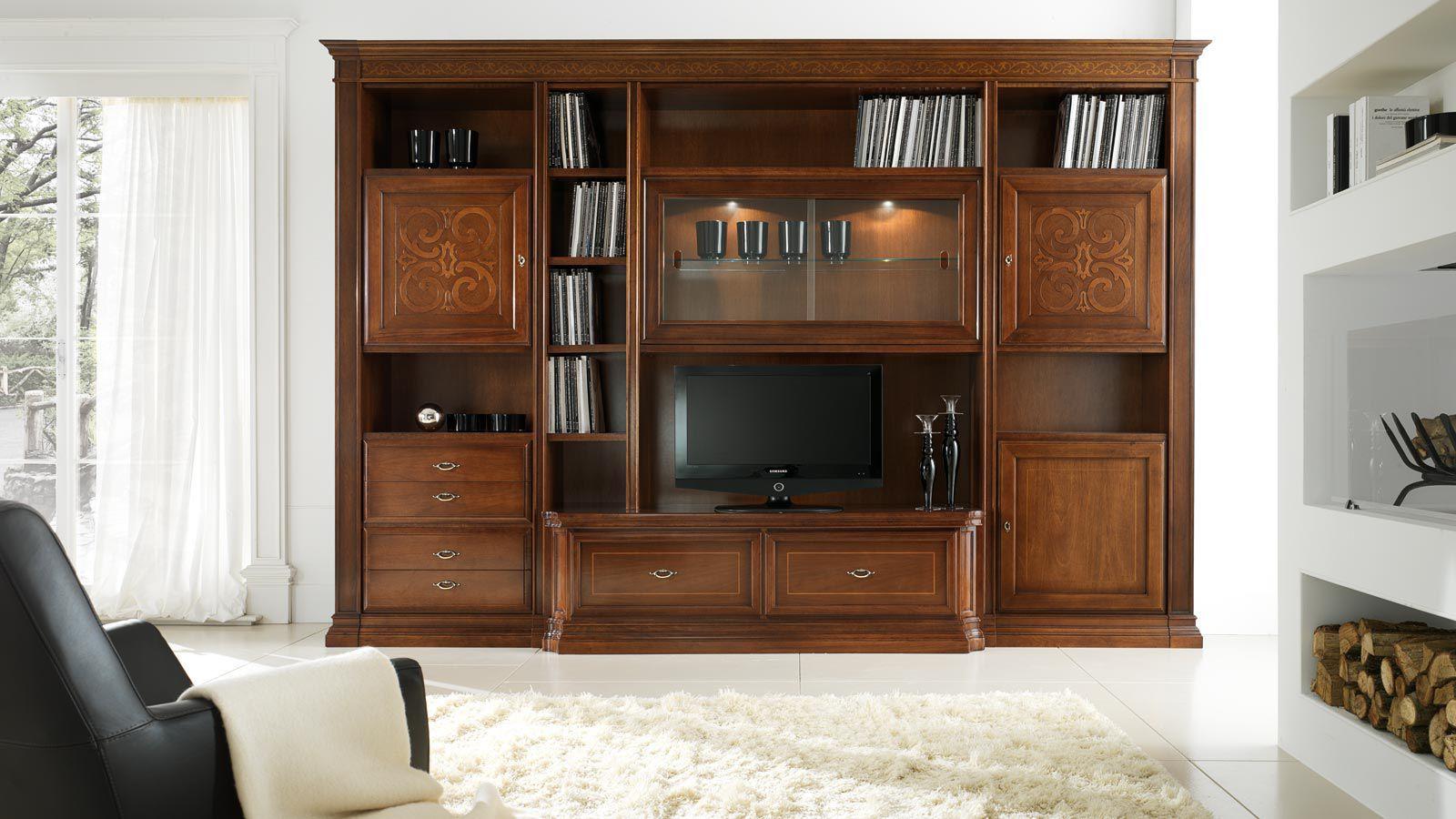 Parete attrezzata TV classico / in legno laccato - MARGOT - Stilema