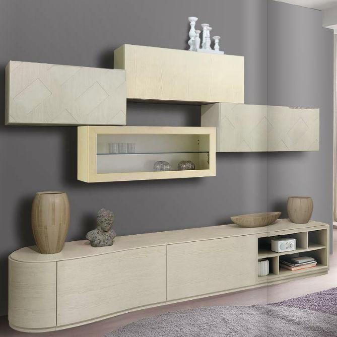 Parete attrezzata per soggiorno moderna / in legno / in legno ...
