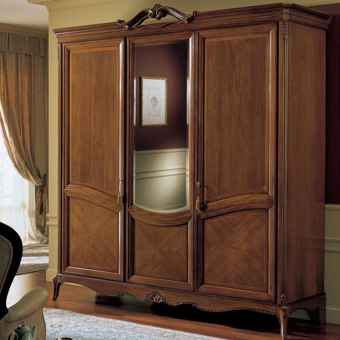 Armadio classico / in legno / con porta battente / a specchio ...