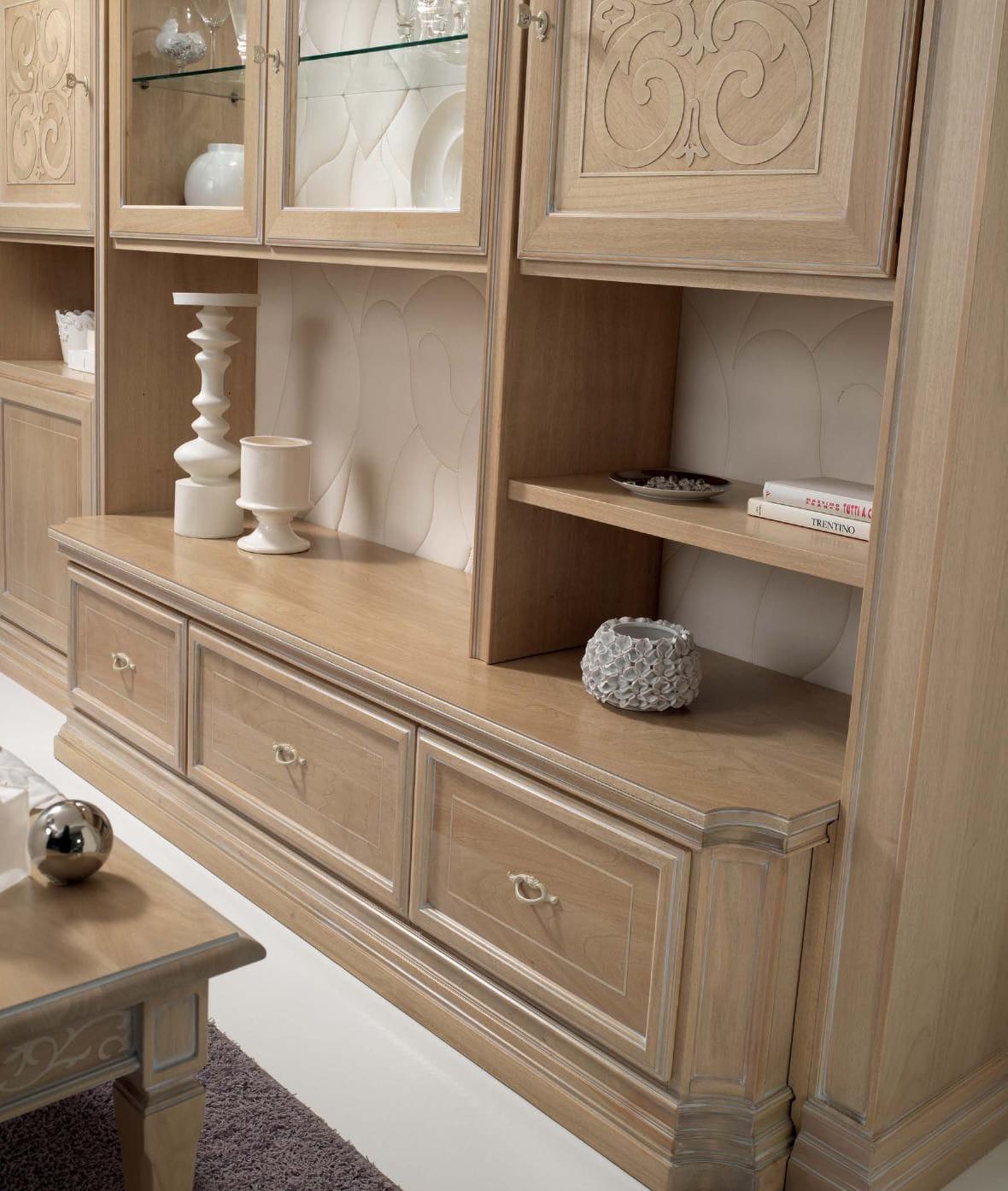 Parete attrezzata per soggiorno moderna / in legno - NOCE NATURA ...