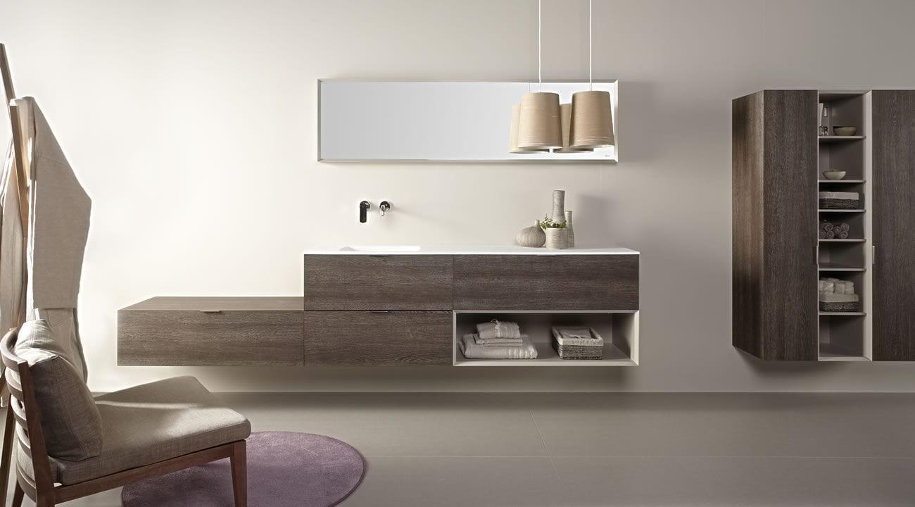 Mobile lavabo sospeso / in laminato / in metallo / in resina - OAK ...
