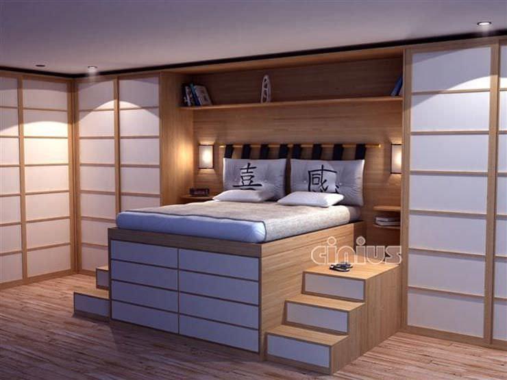 Letto standard / doppio / moderno / in legno - IMPERO - Cinius