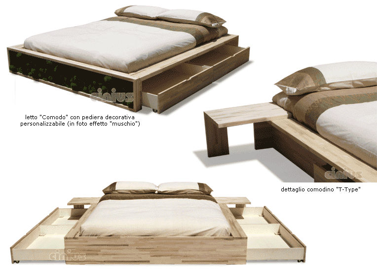 Letto standard / matrimoniale / moderno / in legno - COMODO - Cinius