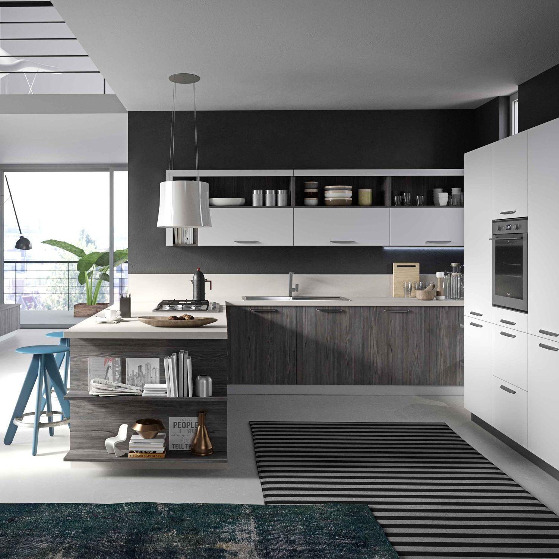 Cucina moderna / in melamminico / in quercia / con impugnature - FUN ...