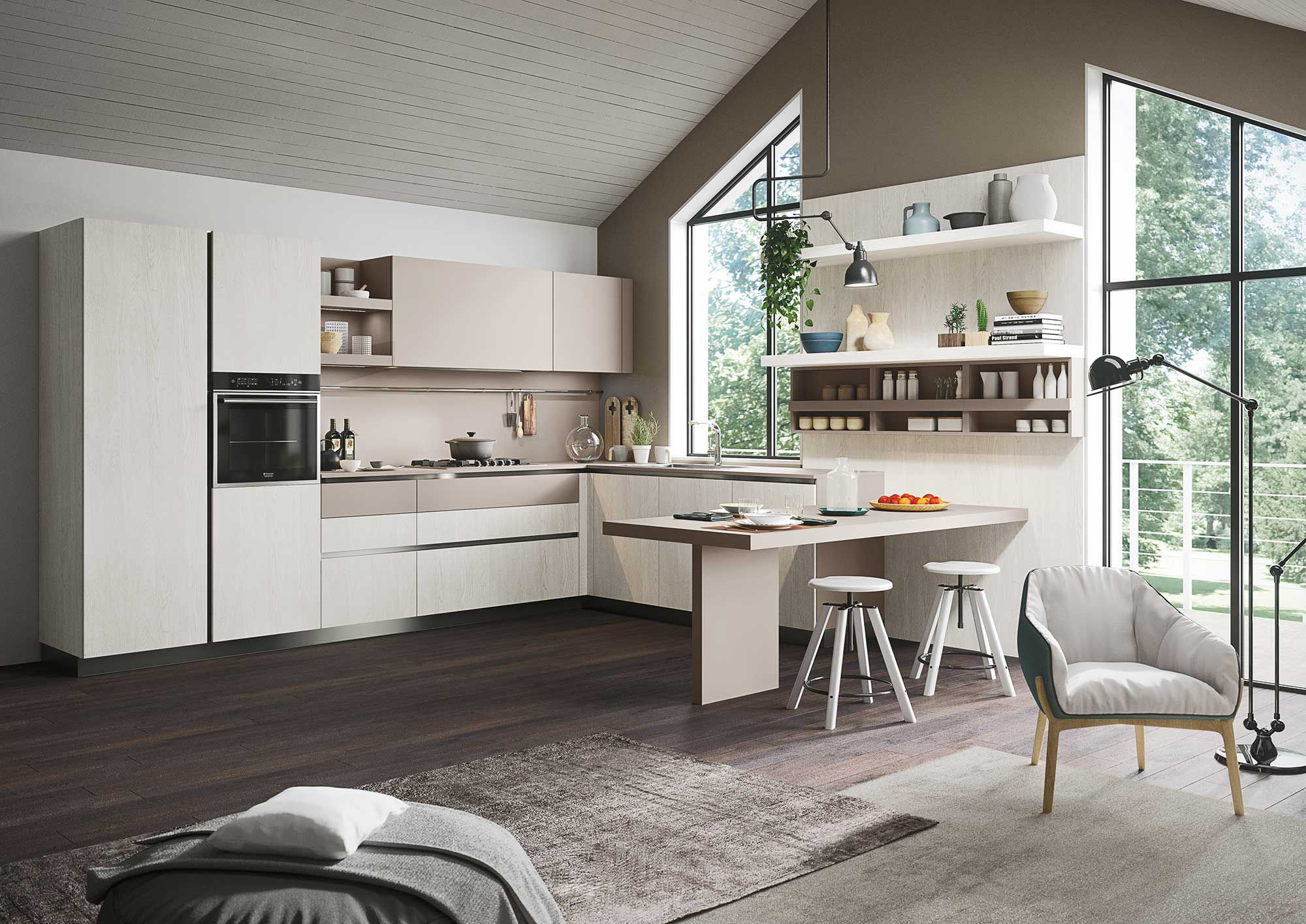 Cucina moderna / in legno / senza maniglie - FIRST - SNAIDERO RINO ...