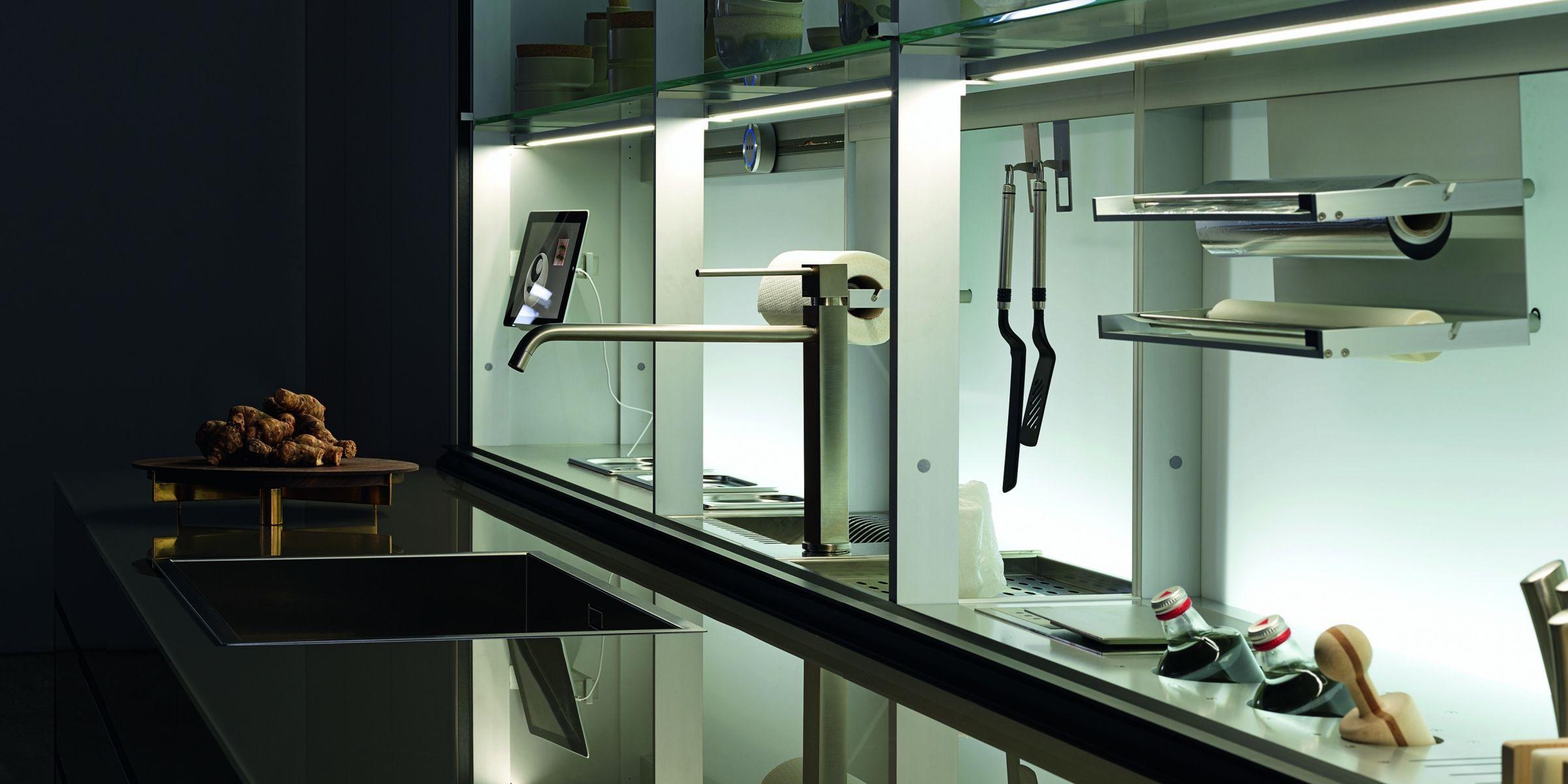 Scaffale moderno / in vetro / per cucina / illuminato - NEW LOGICA ...