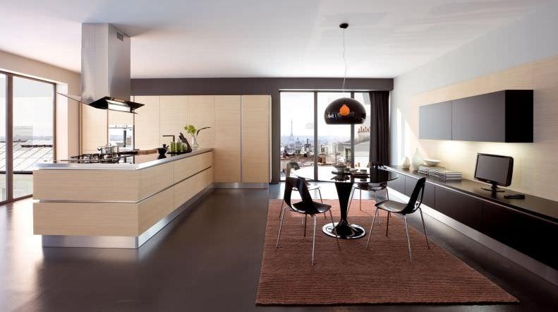 Cucina moderna / impiallacciata in legno / con isola - OYSTER ...