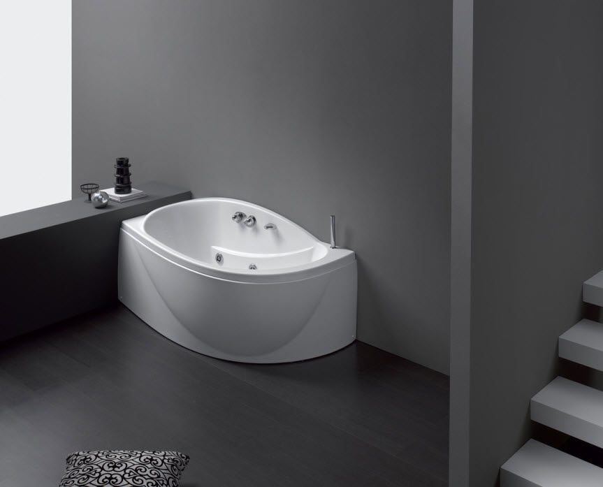 vasca da bagno dangolo in composito sphera by studio lenci