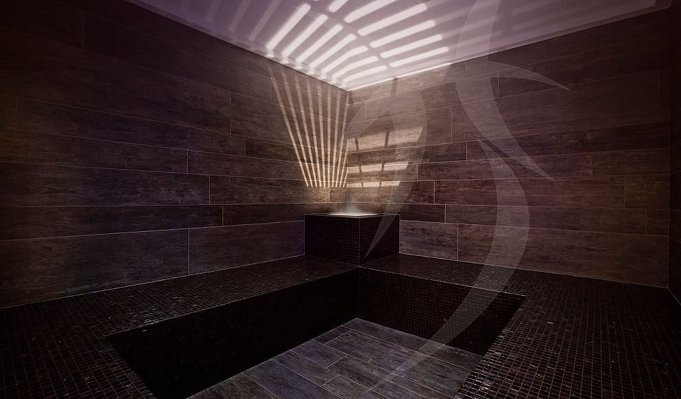 Bagno di vapore lusso corridoio per accesso sauna e bagno turco