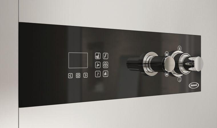 Box doccia a vapore con idromassaggio in vetro rettangolare