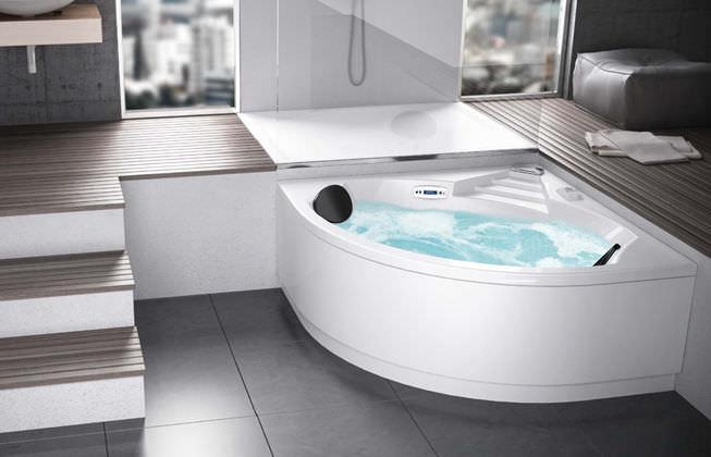 Dimensioni Vasca Da Bagno Jacuzzi : Vasca da bagno dangolo in bio composito idromassaggio limbo