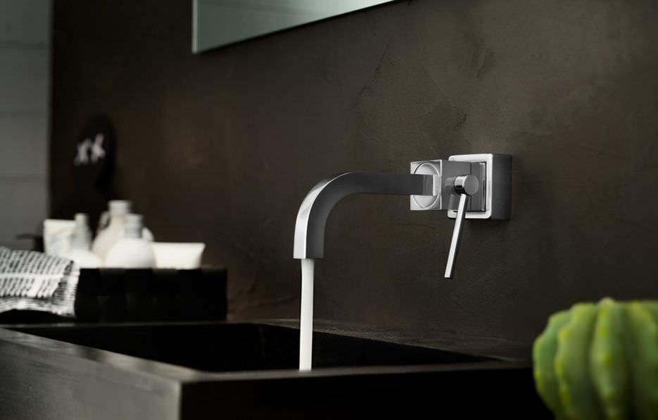 Miscelatore per lavabo / da parete / in ottone / da bagno - CUBE ...