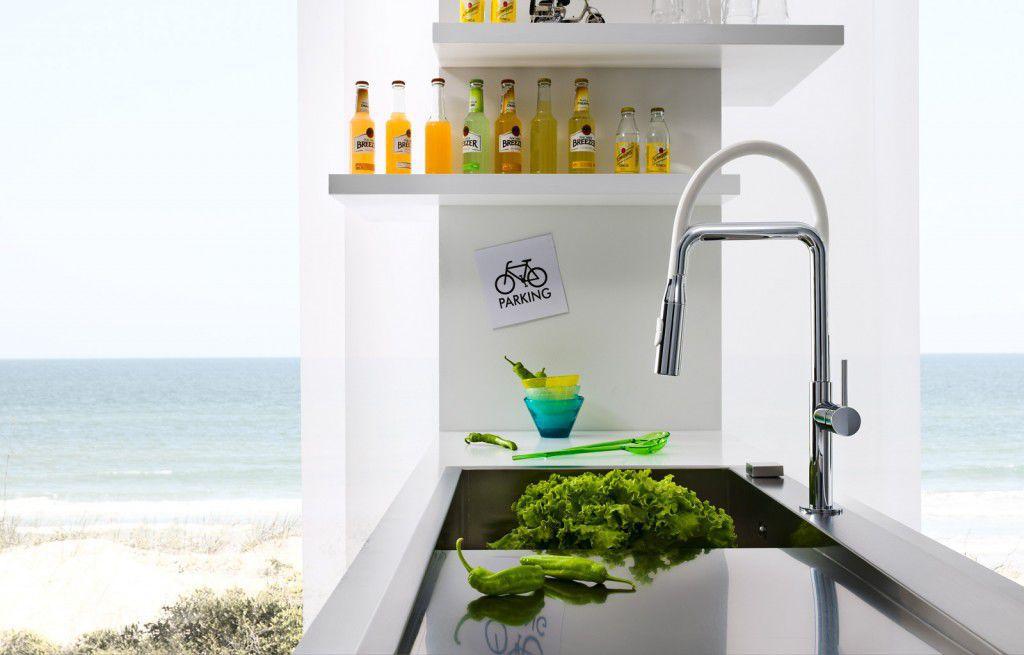 Miscelatore in ottone / da cucina / 1 foro / con doccetta ...
