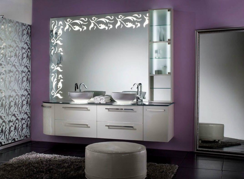 Mobile lavabo doppio / sospeso / impiallacciato in legno / moderno ...