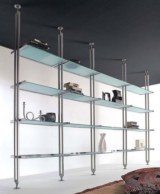 scaffale pavimento-soffitto / moderno / in metallo / in vetro ... - Scaffali Metallo E Vetro