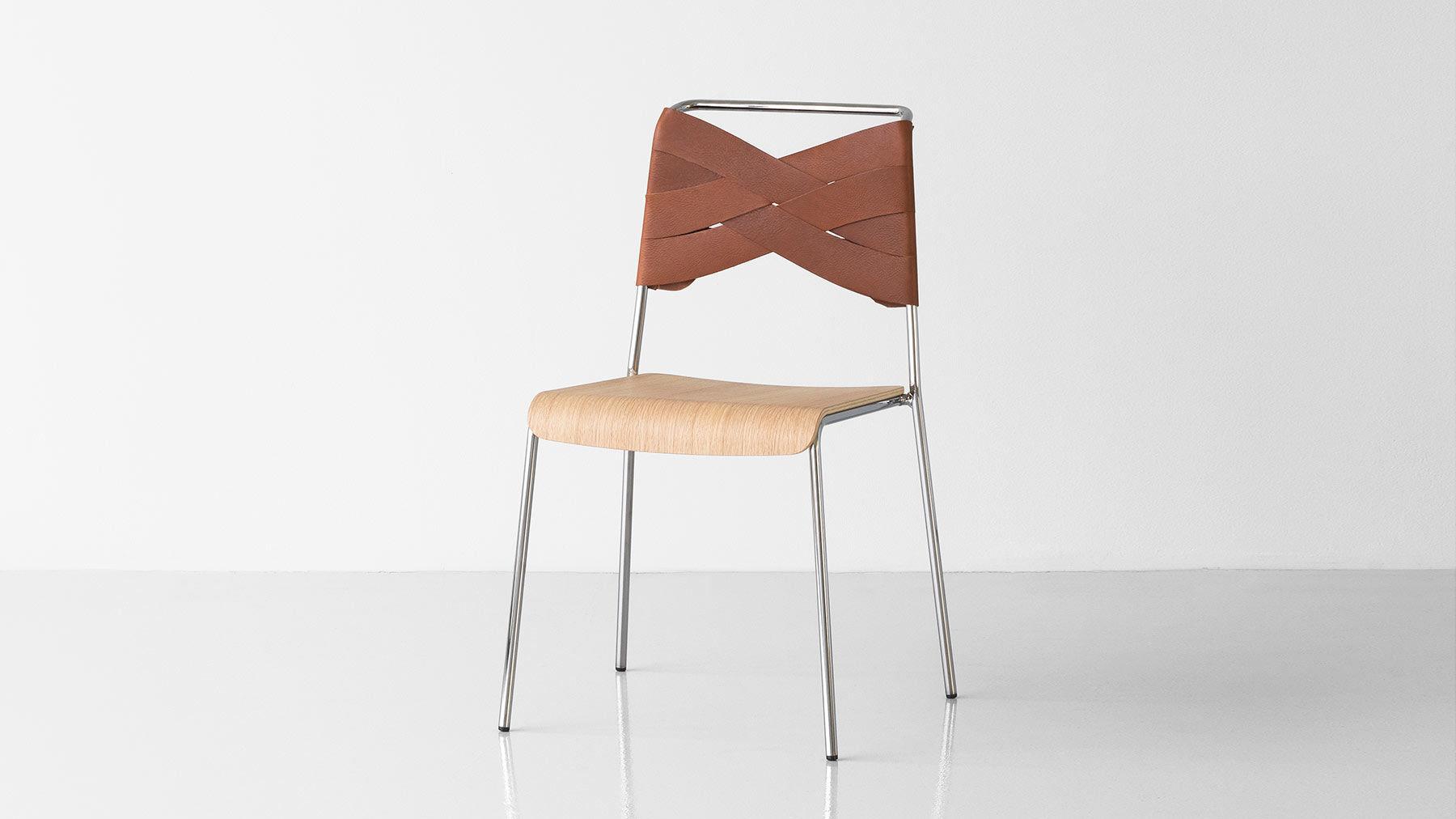 Sedia moderna impilabile in pelle in metallo torso by lisa