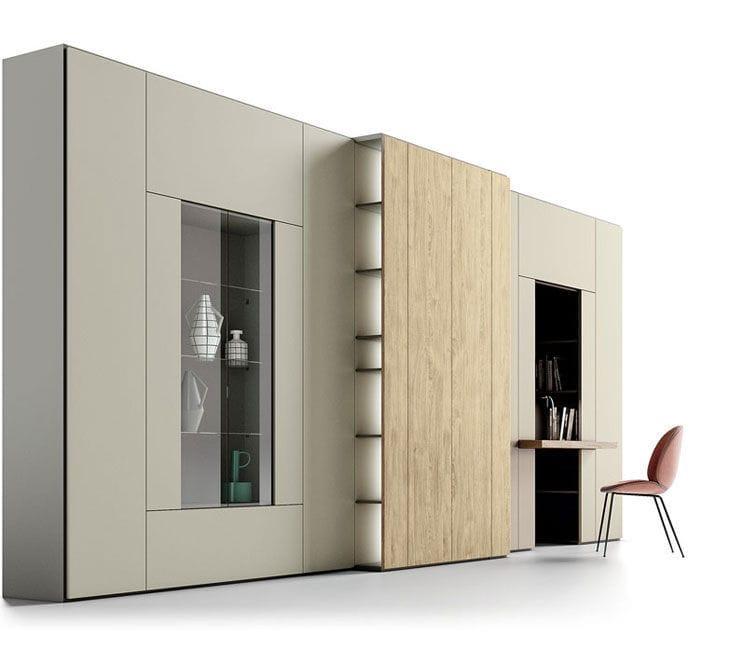 Parete attrezzata per soggiorno moderna / in legno   roomy   caccaro