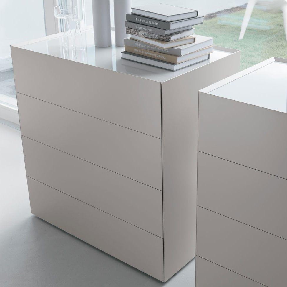 Cassettone moderno / in legno / in legno laccato / bianco - RIQUADRO ...