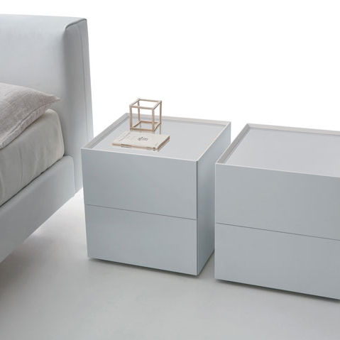 Comodino moderno / in vetro / in vetro laccato / quadrato - RIQUADRO ...