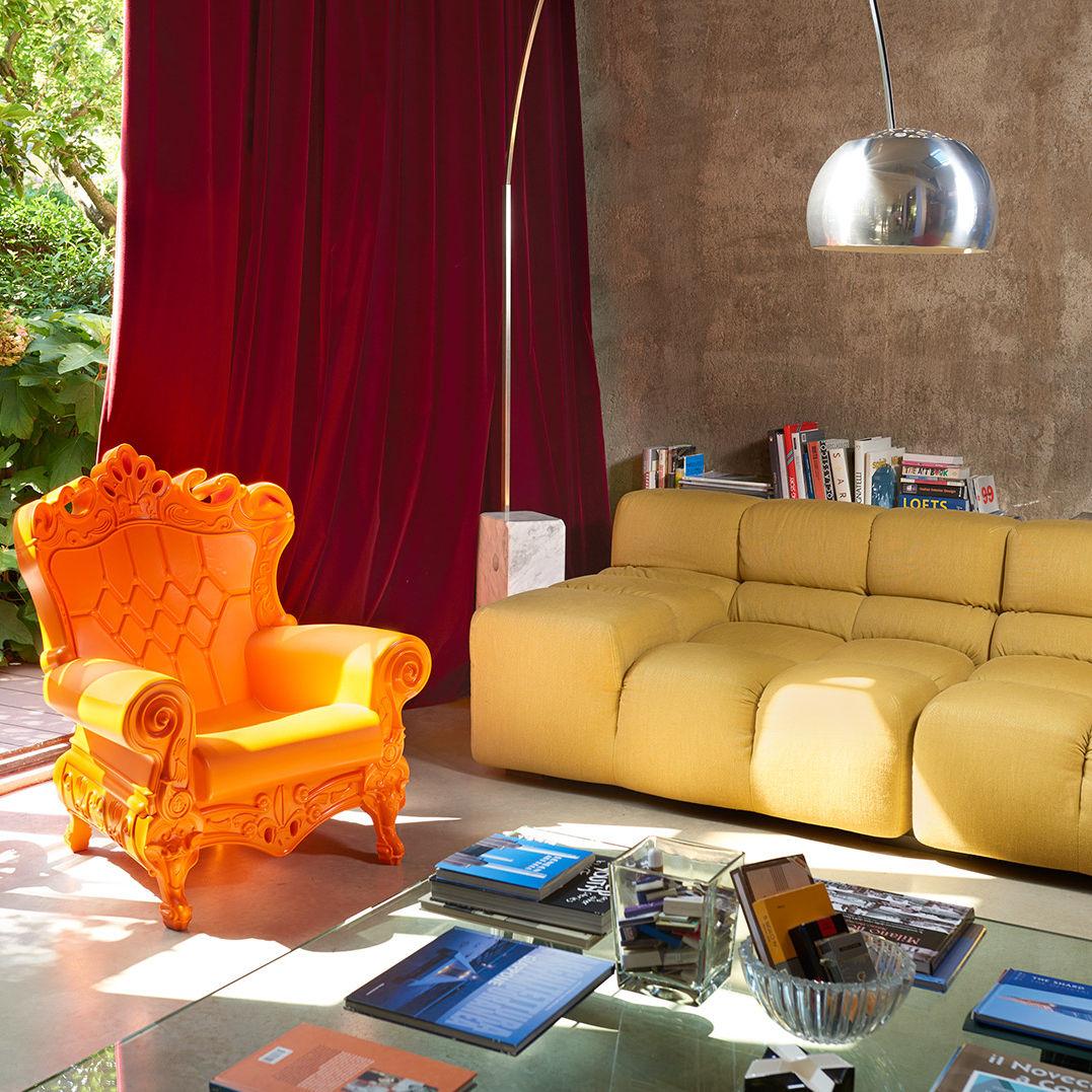 Poltrona design nuovo barocco / in polietilene / arancione / per ...