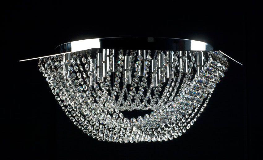 Plafoniera Rettangolare Cristallo : Plafoniera moderna in cristallo alogena da interno