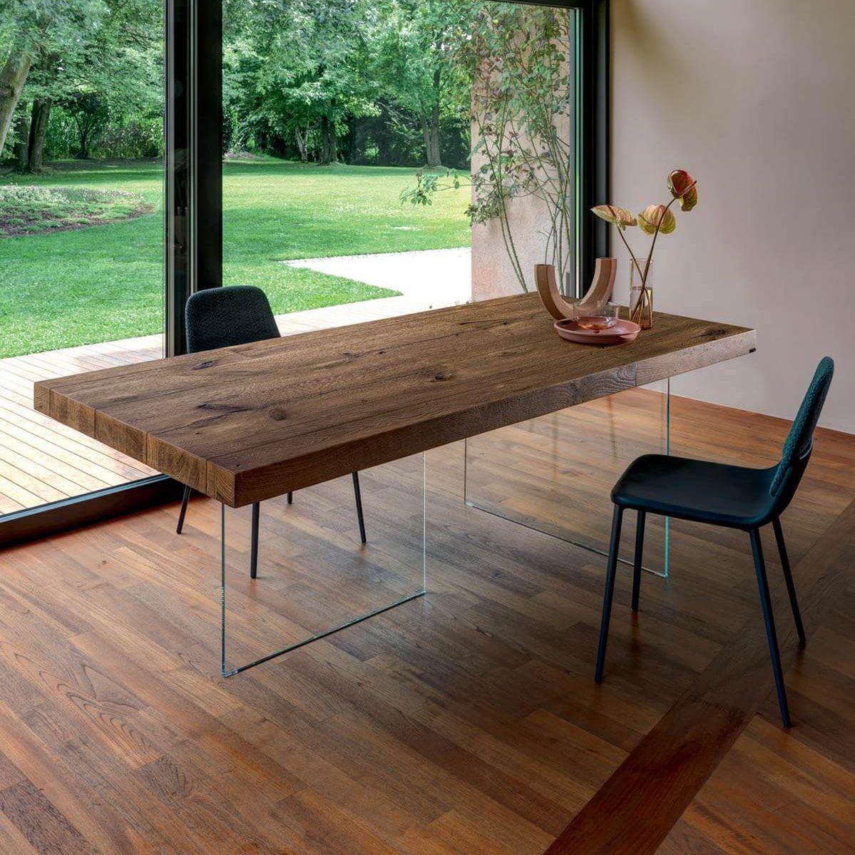 Tavolo moderno / in vetro / in laminato / con supporto in vetro ...