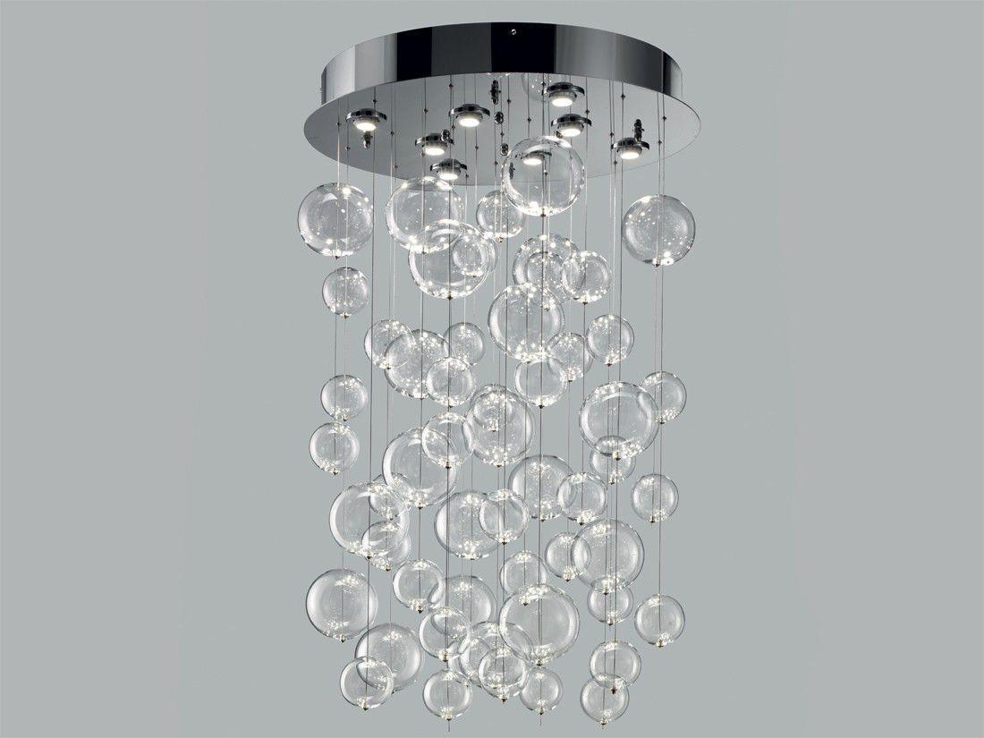 Plafoniera moderna tonda in vetro in metallo bolero