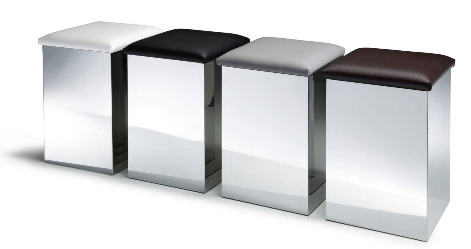 Sgabello moderno in acciaio inossidabile in ecopelle con