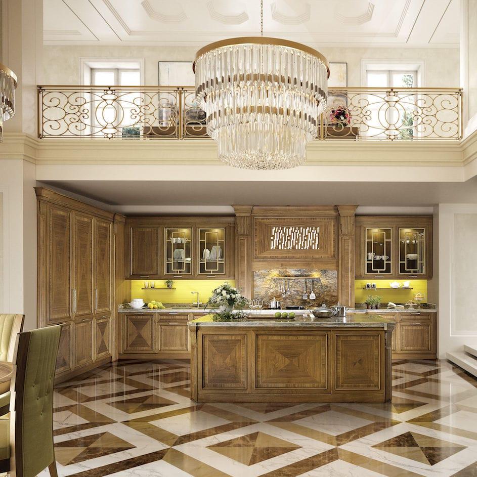 Cucina classica / in legno laccato / con isola / con impugnature ...