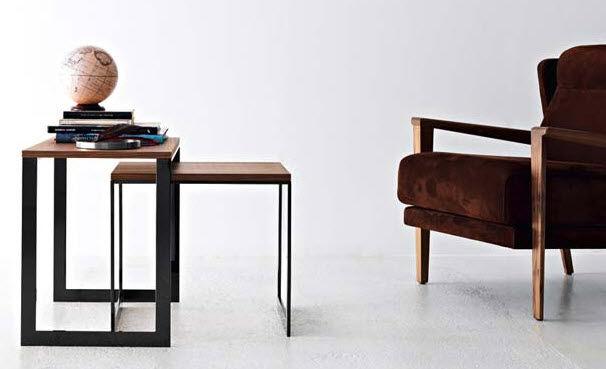 Credenza Moderna Con Tavolo Estraibile : Tavolino estraibile moderno in legno metallo quadrato