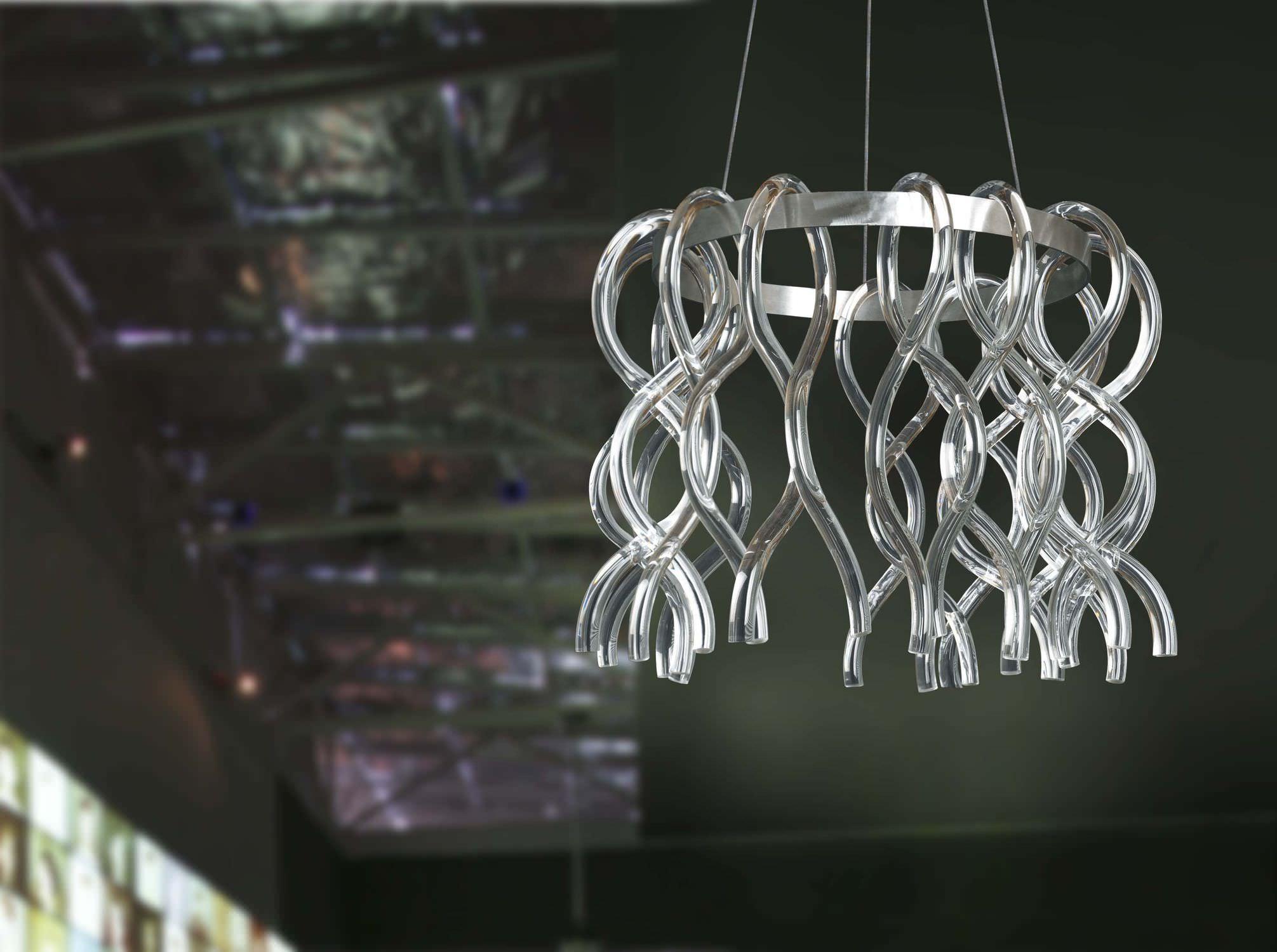 Lampada a sospensione design originale in cristallo fatta a