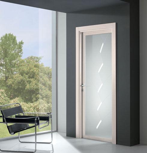 Porta da interni / battente / in legno / vetrata - DEMETRA - CRISTAL ...