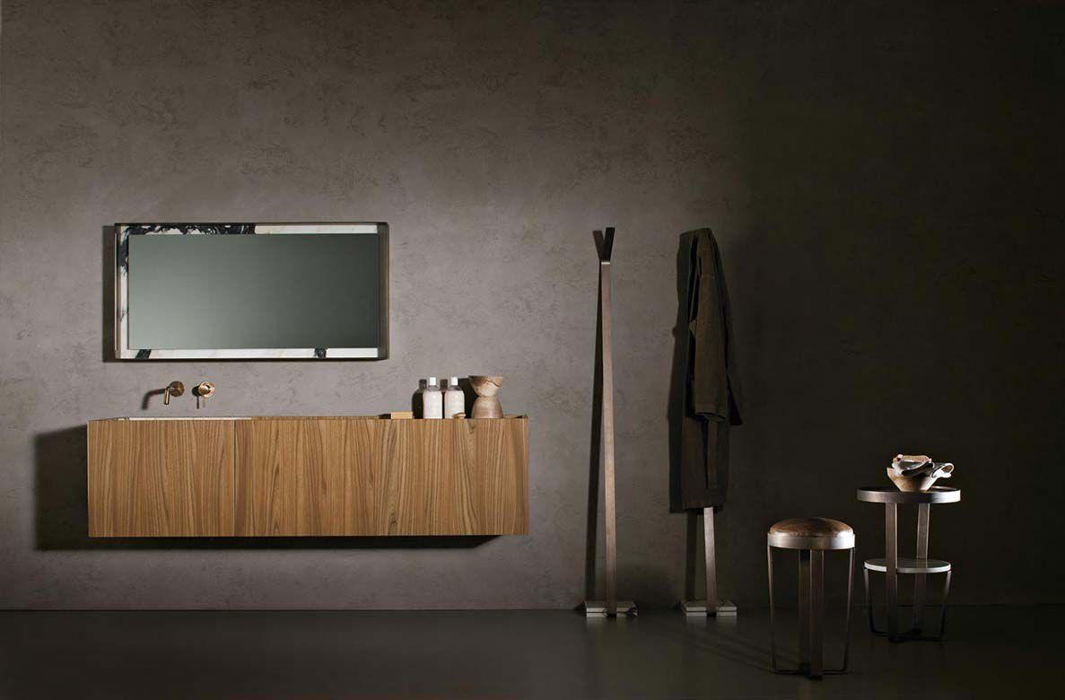 Mobile lavabo sospeso / in legno / moderno / con armadietto ...