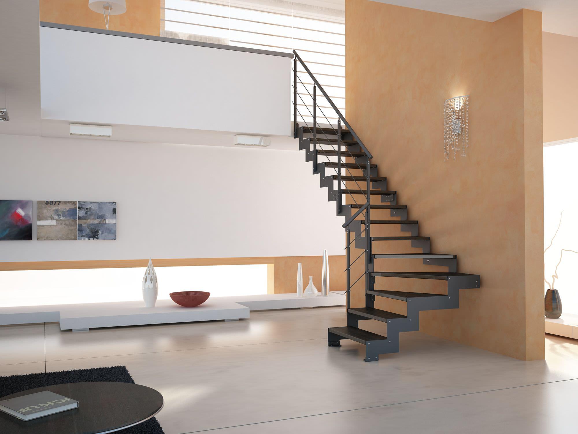 Molto Scala a L / con gradini in legno / con struttura in metallo  TP23